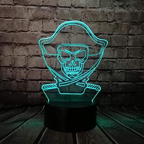 Tatapai 3D Illusion Lamp Led Night Light Pirates of The Caribbean Cartoon Multicolor USB Action Figures Bulb Luminaria USB Kid s Toy Children s Room Decoration