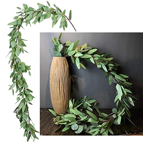 DearHouse 5.5Ft Seeded Eucalyptus Garland, Artificial Vines Faux Eucalyptus Leaves Table Garland Artificial Eucalyptus Garland Greenery Wedding Backdrop Arch Wall Decor