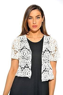 401148-WHT-3X Just Love Bolero Shrug / Women Cardigan,White Paisley Crochet,3X from