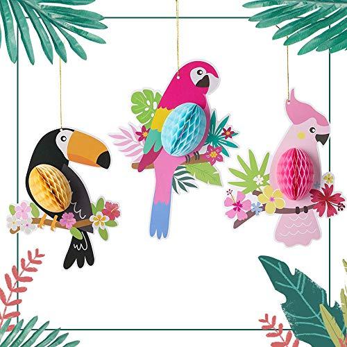 ABRC 3pcs de Nido de Abeja Tropical Conjunto del pájaro Que cuelga Fiesta del Banquete de Boda de Hawai Decoraciones de Fiesta Tropical Decoraciones para el hogar
