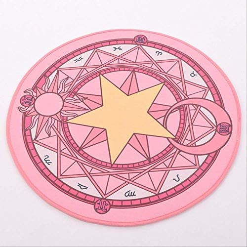 hhjxptst Alfombra, Anime Cardcaptor Sakura Cosplay Props Clow Tarot Card Alfombra Redonda Alfombra Fiesta Accesorios Esteras 80cm Estrella Amarilla