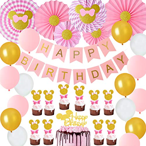 Jollyboom Decoraciones de Fiesta temáticas de Minnie Fans de Papel Rosa y Dorado Minnie Paper Glitter Cake Topper Cupcake Toppers 1st 2nd 3rd Birthday Supplies