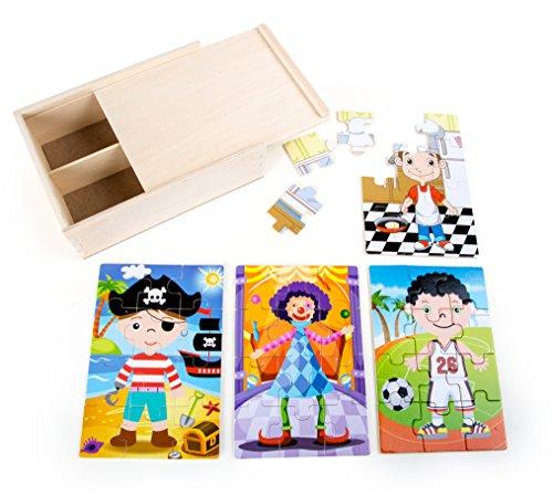 Small Foot - 10172 - Boîte de Puzzle 4-en-1 Garçons Costumés