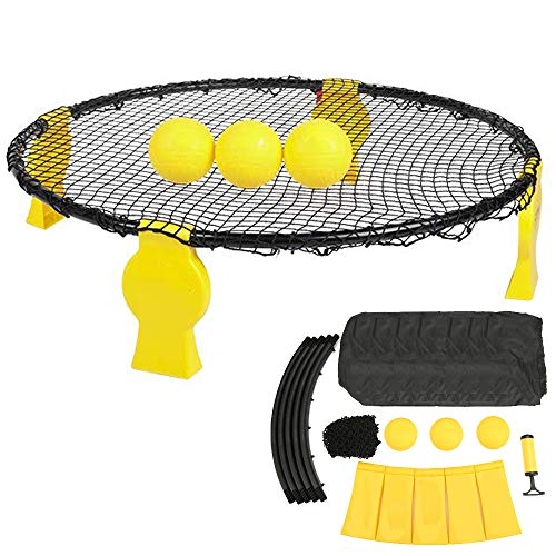 Ydq Juego De Turnball Pelota De Voleibol De Playa,Set De Roundnet con 3 Bolas, Equipo De Deportes Al Aire Libre,Spiderball Game Toy MáXima DiversióN para NiñOs Y Adultos