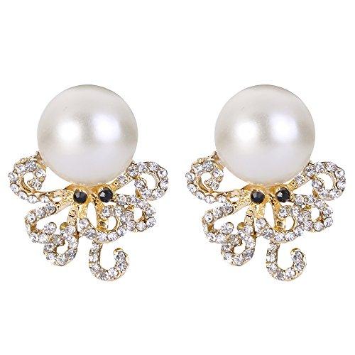 EVER FAITH Mujer Cristal Austríaco Perla Simulada Pulpo Pendientes Stud Claro Tono Dorado