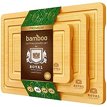 Bamboo Cutting Board Set with Juice Groove  3 Pieces  - Wood Cutting Boards for Kitchen Wood Cutting Board Set Kitchen Chopping Board for Meat  Butcher Block  Cheese and Vegetables