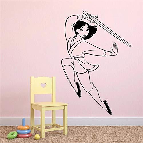 Princesa Mulan dibujos animados Kung Fu valla vinilo papel adhesivo para pared