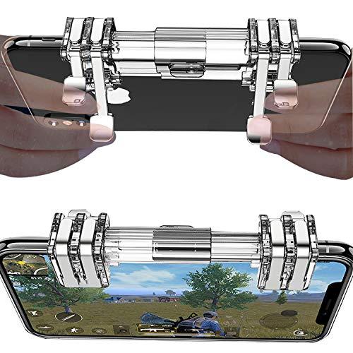 Newseego PUBG Mobile Game Controller Trigger,Handyspiel Auslöser Sensitive Schieß und Zieltasten L1R1 Trigger Tasten für PUBG/Überlebensregeln/Messer für Android & IOS (Transparent / 6 Finger)-Clear