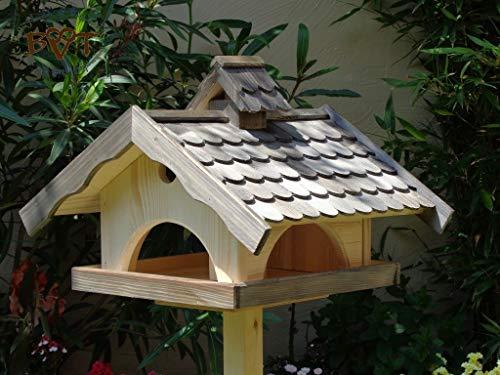 Vogelhaus XXL,MIT Nistkasten,K-VONI5-LOTUS-LEFA-at002,groß,wetterfest,PREMIUM-Qualität,Vogelhaus,mit wasserabweisender LOTUS-BESCHICHTUNG VOGELFUTTERHAUS + Nistkasten 100% KOMBI MIT NISTHILFE für Vögel WETTERFEST, QUALITÄTS-SCHREINERARBEIT-aus 100% Vollholz, Holz Futterhaus für Vögel, MIT FUTTERSCHACHT Futtervorrat, Vogelfutter-Station Farbe schwarz lasiert, anthrazit / Holz natur, Ausführung Naturholz MIT TIEFEM WETTERSCHUTZ-DACH für trockenes Futter