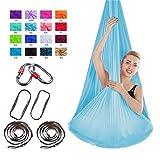 TriLance Hamac de Yoga Aérien Kits, Balançoire de Yoga en Soie pour Le Yoga Anti-gravité, Exercices d'inversion, flexibilité améliorée et Force de Base - Accessoires de Montage Inclus