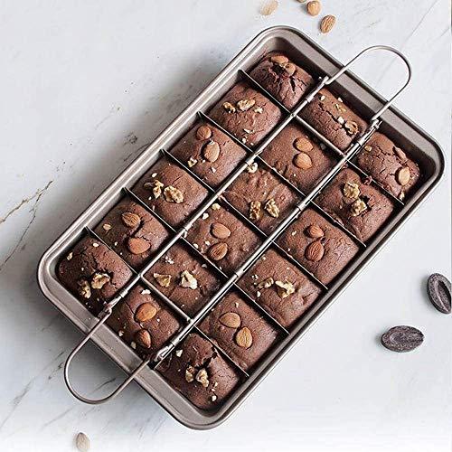 ZJHCC Lata de Brownie, Molde de Pastel de Chocolate para Hornear, Bandeja de 18 cavidades con divisores, Molde de Pastel Cuadrado Antiadherente para Brownie, Utensilios de Cocina