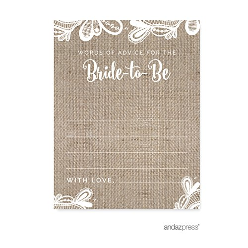Andaz Press Burlap Lace Wedding Collection, Blank Words of Wisdom for The Bride-to-Be Bridal Shower Cards, 20-Pack