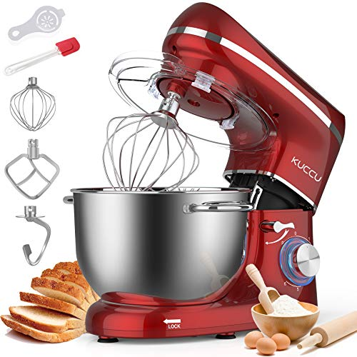 Kuccu Stand Mixer, 6 Qt 660W, 6-Speed Tilt-Head Food Dough Mixer, Kitchen Electric Mixer with Stainless Steel Bowl,Dough Hook,Whisk, Beater, Egg white separator (6-QT, Red)