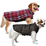 MIGOHI Dog Jackets for Winter Windproof Reversible Dog Coat for Cold Weather British Style Plaid Warm Dog Vest for Small Medium Large Dogs, Red M