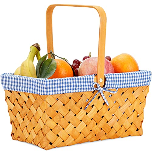 G GOOD GAIN Woodchip Picnic Basket with Single Swing Handle, Hand Woven Easter Eggs and Candy Basket, Bath and Kids Toy Wicker Storage Basket, Gift Packing Basket. Wicker Small Halloween Basket,Blue