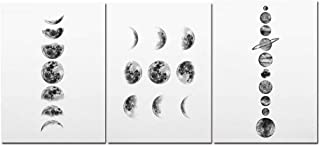 Solar System Wall Art Black and White Moon Phases Canvas Art Prints Minimalist Space Poster Painting for Living Room Home Decor,21x30cm No Frame,04