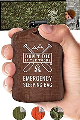 Emergency Sleeping Bag With Hood | Ultralight, Waterproof, Thermal Mylar Sleeping Bag Liner | Survival Bivy Space Blanket Bivey For Hiking, Camping, Military, Prepper Kits, Hunting, Survival Gear Camo