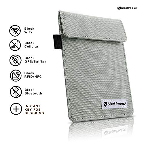 Silent Pocket Signal Blocking Faraday Key Fob Case - Car Anti Theft Device Shielding Against All Signal Types, Including RFID Blocking & Durable Faraday Bag, Fits Most Car Keyfobs (Grey)