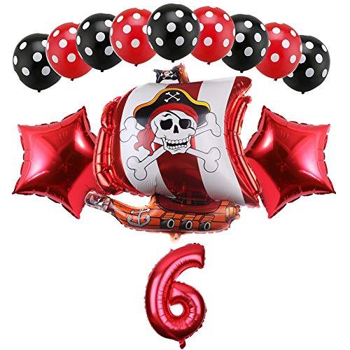 Haosell Piraten Kindergeburtstag Deko Jungen 6 Jahr Ballon, 6 Geburtstag Dekorationen für Junge, Piraten Party Luftballons Piraten Geburtstagsdeko 6 Jahr Junge Piraten Themenorientierte