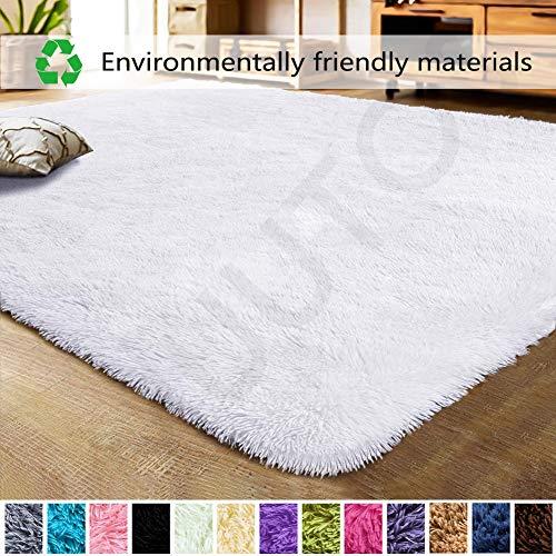 Teppich Modern 120x160cm, Robust Qualität Antistatisch, Klein Teppich für Wohnzimmer flauschig Bettvorleger Schlafzimmer Outdoor - Weiß