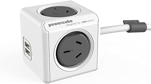 New Allocacoc PowerCube 4 outlets 2 USB ports surge protector 1.5m extension cord wall adaptor with safety resettable...