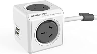 New Allocacoc PowerCube 4 outlets 2 USB ports surge protector 1.5m extension cord wall adaptor with safety resettable fuse...