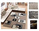 Alfombra de Salón Frise Pelo Largo Tupido Cuadrados Geometricos Modernos Color (BEIG, 133_x_190 CM)