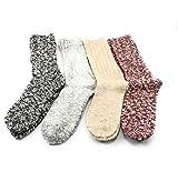 Weatherproof Boot Crew Socks for Womens,Warm,Soft Cotton Blend,Show Size 5-9.5 (4 Pack_ (Black-Beige-Grey-Burgundy, 4)
