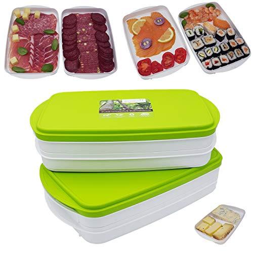 Greenline Frischhalte-Stapelbox Aufschnitt-Box für Wurst, Käse, Lachs, Sushi Natürlicher Bio-Kunststoff aus Zuckerrohr insgesamt 4 Schalen 0,9 l und 2 Deckel beliebig kombinierbar