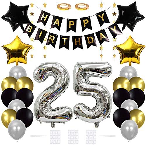 Xihuimay Decoración de cumpleaños para 25 cumpleaños, color negro y plateado