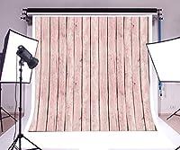GooEoo 6×6フィートビニール背景写真の背景木の板壁レトロ素朴なライトピンクペイントストライプ木製の床子供赤ちゃん子供大人の肖像画フォトスタジオの小道具
