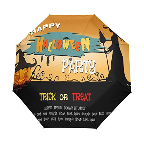 Gelukkig Halloween Heks Pompoen Auto Open Sluiten Opvouwbare Reizen Paraplu