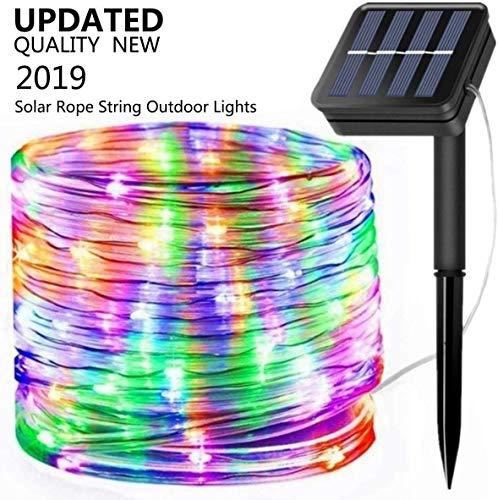 Solar Rope Lights, EONANT 39ft / 12M 100LED Impermeabilice las Luces de Cadena de Alambre de Tubo de Cobre para Jardín, Patio, Camino, Cerca, Escaleras, Patio Trasero, Patio Decorativo (Multicolor)