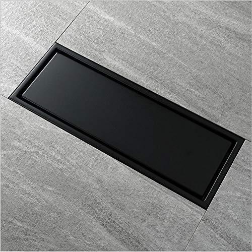 wffmx 30X11 cm Anti-Geruch Schwarz-Farbe Edelstahl-Linearer Boden-Abfluss-Badezimmer-Fliesen-Einsatz-Duschboden-Abfluss