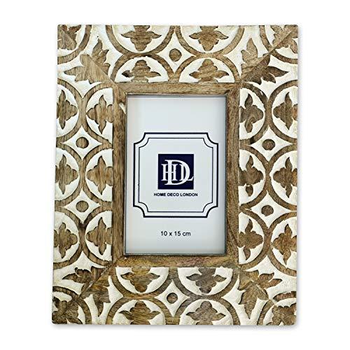 Home Deco London Bilderrahmen aus Mangoholz, geschnitzt, 10 x 15 cm, Weiß