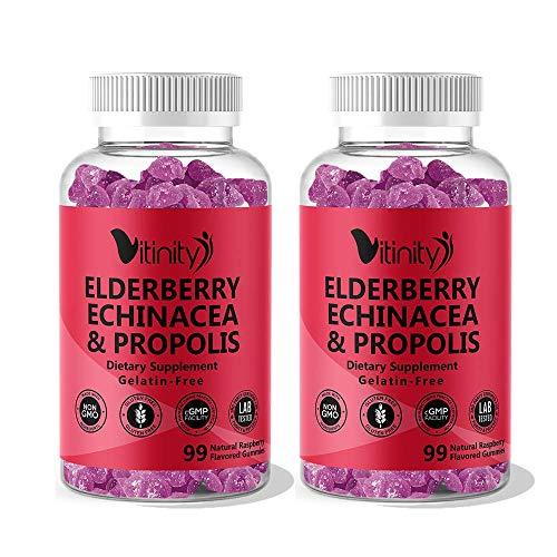 Elderberry,Echinacea,Propolis Gummies & Vitamin C-Adults,Kids Overall Health Booster Supplement- Sambucus Black Elderberry by Vitinity-Alternative to Capsules,Syrup,Pills,Tea (2 Pk-99 Count Each)