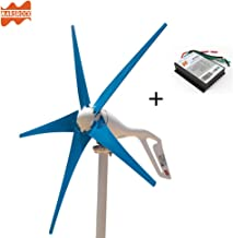 Marsrock Light and Powerful Small Three Colors 5 Blade 400W Wind Turbine Generator Kit AC 12V/24V with Windmill Generator Controller for Home Use (24V-Blue)