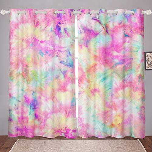"Erosebridal Kids Tie Dye Pink Window Curtains Batik Window Drapes for Children Boys Girls Women Watercolor Psychedelic Window Treatments Curtain for Living, Dining, Bedroom Decor 42""X63"",2 Panels"