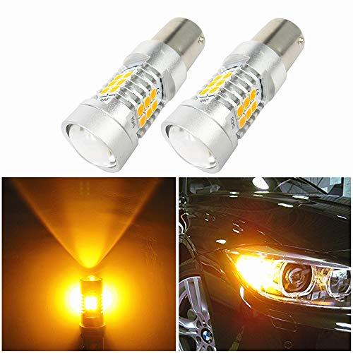 WLJH Lot de 2 ampoules LED T20 7443 extrêmement lumineuses avec projecteur haute puissance 2835 Chipsets pour clignotants, feux de position latéraux et feux de position Jaune ambre 10-30 V