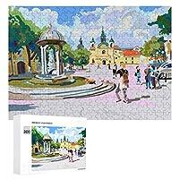 街の晴れた日の絵 300ピースのパズル木製パズル大人の贈り物子供の誕生日プレゼント