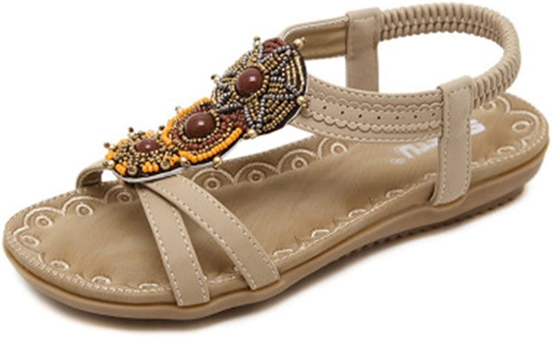 GIY Women's Bohemian Flat Sandals with Bling Open Toe Platform Comfort Elastic Summer Beach Thong