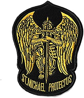 MORTHOME St.Saint Michael Protect Us Modern Morale Embroidered Patch Tactical Military Army Operator Patches Applique for Coat Jacket Gear Cap Hat Backpack (Black/Yellow)