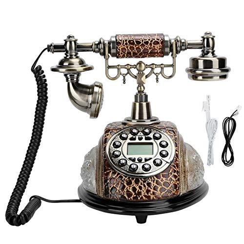 Fockety Teléfono Retro Vintage, teléfono Fijo Antiguo Decorativo con botón pulsador, luz de Fondo, Manos Libres, rellamada de números, teléfono con Cable de Resina para el hogar y la Oficina