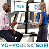 Yo-Yo DESK GO 2 (SCHWARZ) | Meistverkaufter Höhenverstellbarer Schreibtisch Mit Integrierter Säule Und Dual Monitorhalterung Für Benutzer über 180 cm | Integrierte Kabel- und Stiftbox - 5