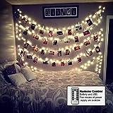 KINDAX 40 LED con Mollette per Foto Striscia Luci Portafoto con 8 Modalità di Illuminazione Regolabile con Telocomando Catena Luminosa per Decorazione Camere Festa di Matrimonio Compleanno