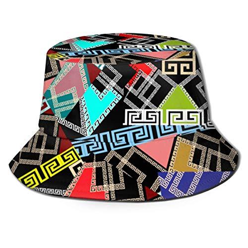Out GuoAiYunShop - Sombrero de pescador, diseño de patchwork, color negro