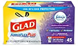 Glad ForceFlexPlus Tall Kitchen Drawstring Trash Bags -13 Gallon White Trash Bag, with Febreze Mediterranean Lavender - 45Count