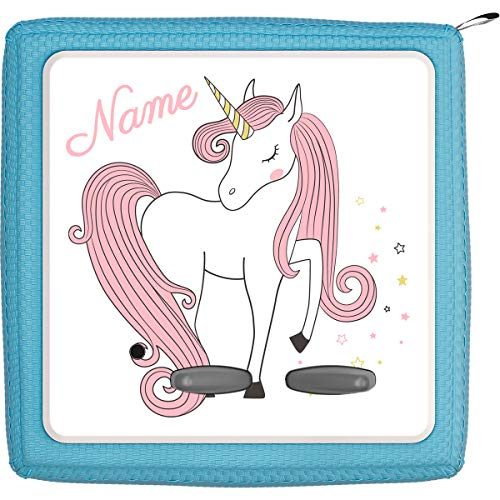 Coverlounge® Schutzfolie passend für die Toniebox mit Namen personalisiert | Einhorn mit rosa Haaren und Sternen