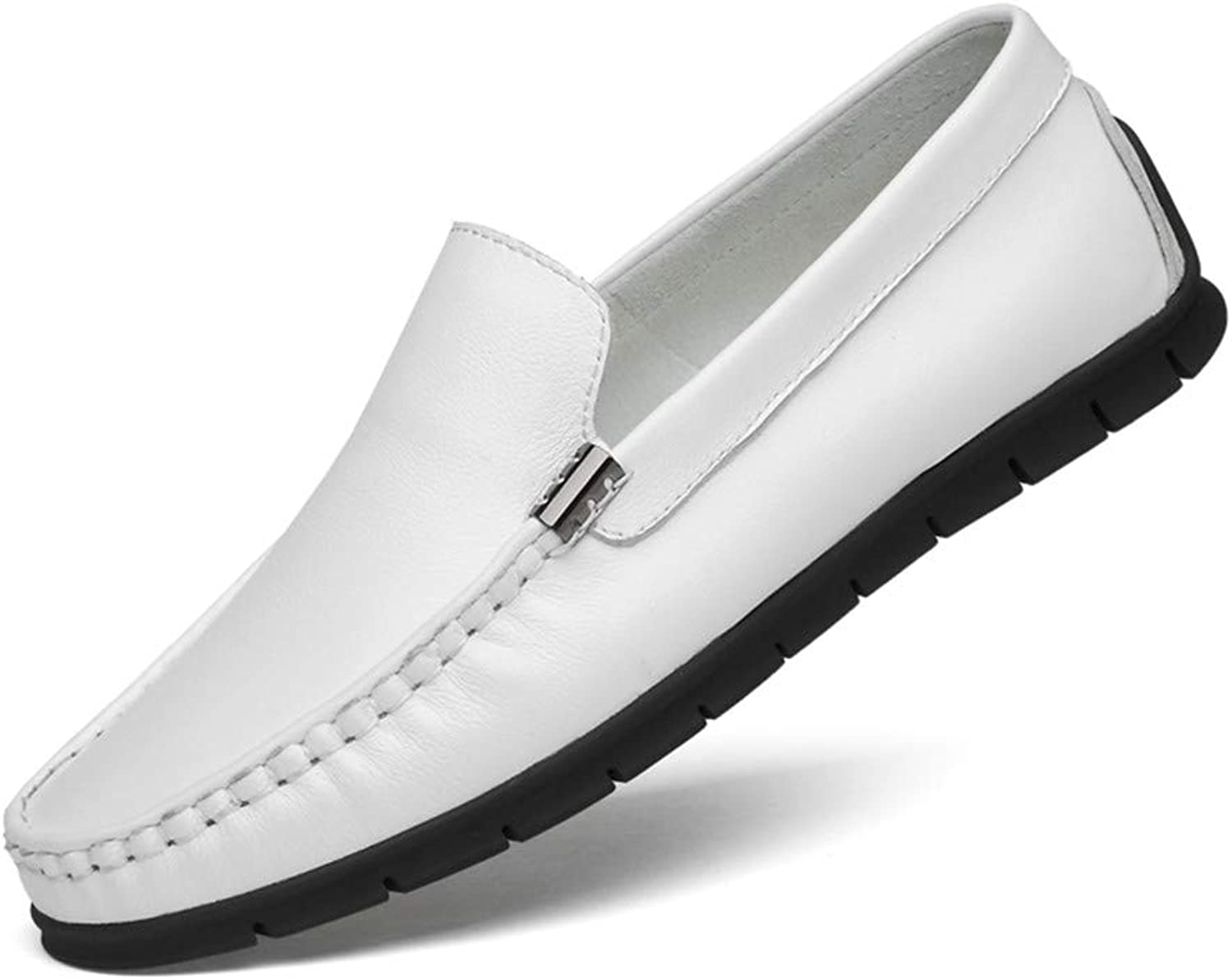 GPF-fei Men's shoe Leather Loafers shoes Lazy shoes Loafers & Slip-One Peas shoes Round toe shoe Comfortable Fashion Breathable Leisure,White,42