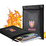 Fireproof Document Bag, 15' x 11' Solid Silicone Coated Fire Resistant & Water Resistant Money Bag Fireproof Safe Storage for Money, Documents, Jewelry, Zipper Closure for Maximum Protection, Black